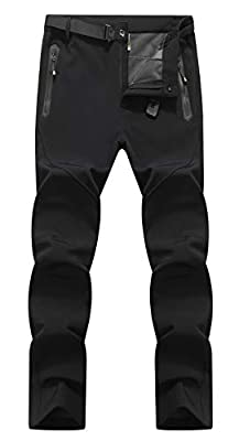 YSENTO Men's Waterproof Windproof Fleece Lined Trousers With Zipper Pockets Outdoor Walking Climbing Skiing Pants from YSENTO