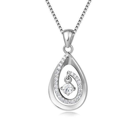 Geschenke für Frauen, mit Geschenkverpackung, 925 Silber, verlängerbar auf 50cm, Geschenkidee für Sie Freundin Schwester Mutter Tochter, Halskette Kette mit Anhänger
