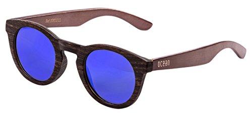 Ocean Sunglasses San Francisco, Occhiali da Sole, In Bambù, Colore: Marrone/Montatura/Aste Legno Scuro/Lenti Revo Blu