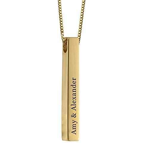 ette Personalisiert 4 Namen Anhänger mit Geburtssteinen Silber Personalisierte Geschenk für Damen Herren (Gold,45cm) ()