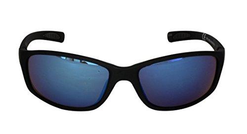 Foster Grant SPVL14928 ANKER RV VL FG109 Herren Wrap Style, Sport Sonnenbrille Schwarz Gummierte Kunststoffrahmen & Arme UV400 Blau Spiegelgläser 100% UV-Schutz CAT 2
