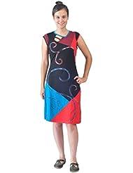 Femmes robe de soirée sans manches avec des motifs colorés et des patchs de broderie