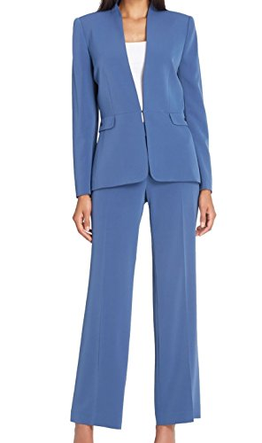 Tahari by ASL Vintage Womens Collarless Pant Suit Set Blue 12
