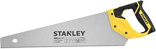Stanley JetCut feine Handsäge 2-15-595 in 450 mm Länge - Säge für Holz, Kunststoff, Laminat - Mit Griff aus Bi-Material, verbesserter Verzahnung & 45/90° Anschlag für präzises Sägen