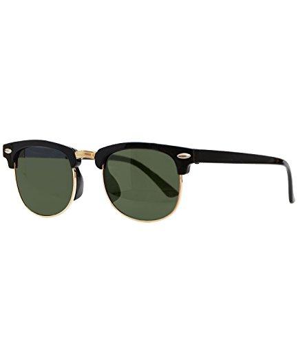 Caripe Sonnenbrille Retro Vintage Kinder Mädchen Jungen verspiegelt - klubbakid (One Size, 411 - schwarz -grün getönt)