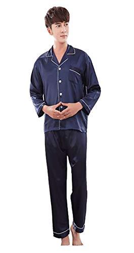 Schlafanzug Satin Pyjama Set, Klassische Nachtwäsche für Männer - Langarm Shirt mit Reverskragen & Lange Hose, 1 Set Blau M ()