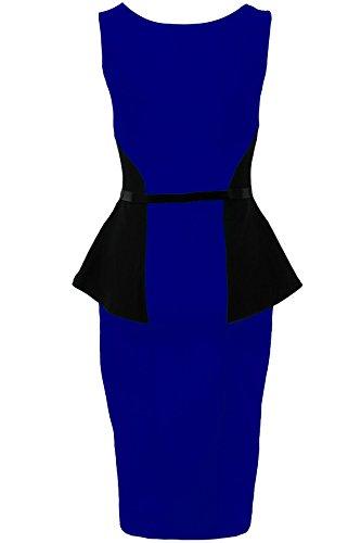 FANTASIA BOUTIQUE Damen Ärmellos Mit gürtel Spitze Contrast Damen Gewickelt Schößchen Bodycon Kleid Königsblau