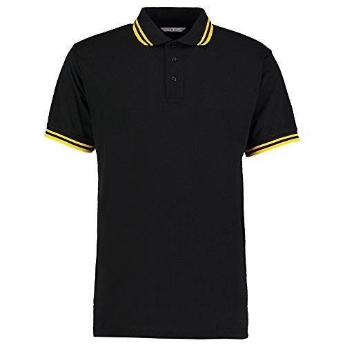 Kustom Kit Herren Modern Poloshirt Schwarz / Gelb