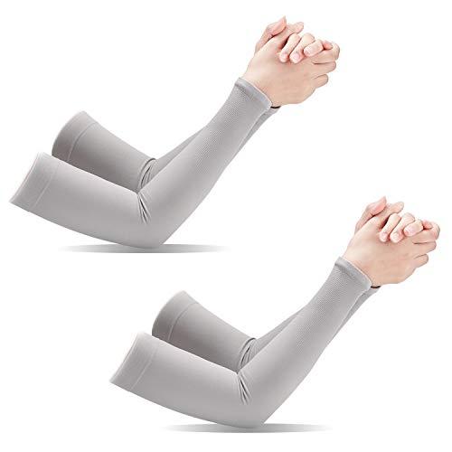 aegend Armmanschetten, [2 Paar] UV-Schutz für Männer Frauen Jugend Armstütze für Radfahren Golf Baseball Basketball Tattoo Arm Kompression Ärmel-Schwarz Weiß Grau, One Size Fit Most