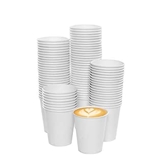 100 x 7oz White Paper Cups for Hot Drinks Premium Disposable Coffee/Tea Paper Cups Perfect for Your Home, Café, Work, Parties or Outdoors.