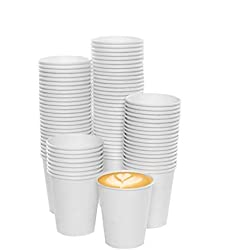 Lot 100 Gobelets Carton écologique 6.5 oz - 100pcs Paper Cups for Hot/Cold Drinks Unique Design