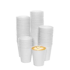 100pz Bicchiere di Carta per Bevande Calde Bianco 7 OZ – 180 ml – 100pcs 7oz Paper Cups for Hot and Cold Drinks