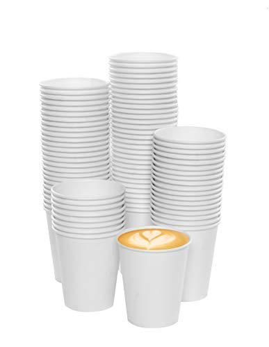 MGGI Trading 100pz Bicchiere di Carta per Bevande Calde Bianco 7 OZ - 180 ml - 100pcs 7oz Paper Cups for Hot And Cold Drinks
