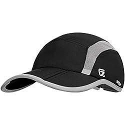 GADIEMENSS Quick Dry Sports Hat Lightweight Breathable Soft Outdoor Running Cap (Folding series, Black)