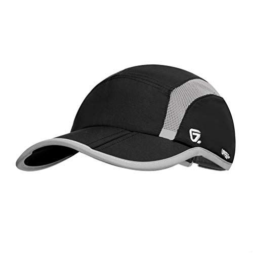 Imagen de gadiemenss quick dry sports hat lightweight breathable soft outdoor running cap folding series, black