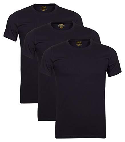 Polo Ralph Lauren 3er Pack Herren T-Shirts, Rundhals (XXL, Schwarz)