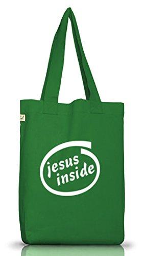 Shirtstreet24, Gesù Allinterno, Borsa In Tessuto Sacchetto Di Iuta Cristiana Terra Positiva (taglia Unica) Verde Muschio