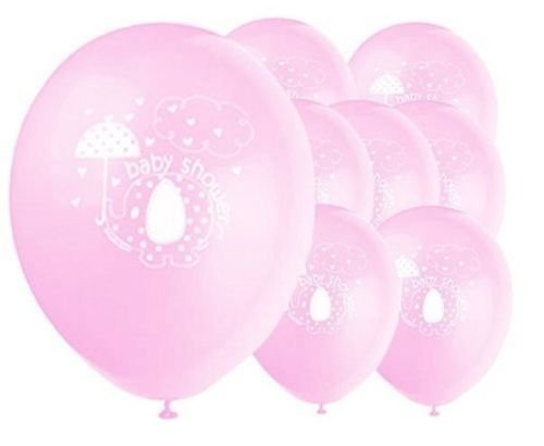 Einzigartige Baby Shower Elefant mit Regenschirm, Ballons, Rosa