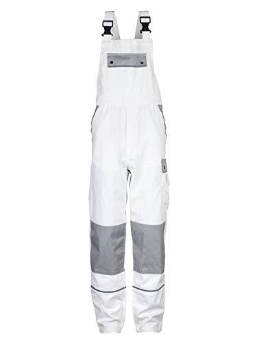 TMG® Komfortable Herren Latzhose | Weiß | XS-7XL | Männer Arbeitslatzhose mit Reflektoren und Taschen für Kniepolster | Ideal für Maler, Anstreicher und Tapezierer 26