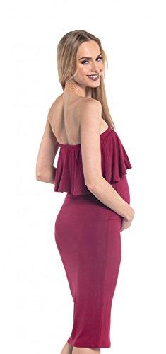 Happy Mama. Damen Umstands Stretch Midi Kleid trägerlos Bleistiftkleid. 571p Purpur