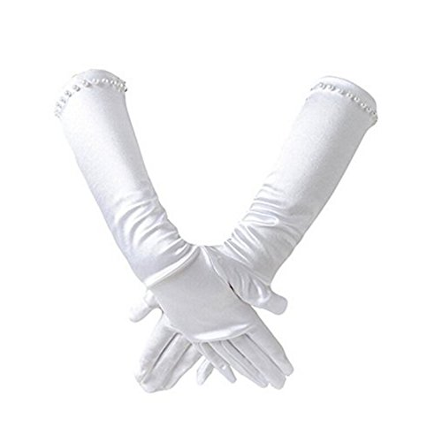 Ever Fairy Mädchen klassisch weiß Hochzeitskleid Perlstickerei Handschuhe - Weiß, L (8-12years) (Weiße Kinder Handschuhe)