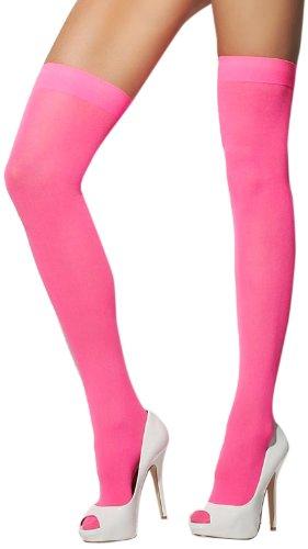 Smiffys, Fever, Damen Halterlose Strümpfe, Blickdicht, One Size, Neon Pink, 28351