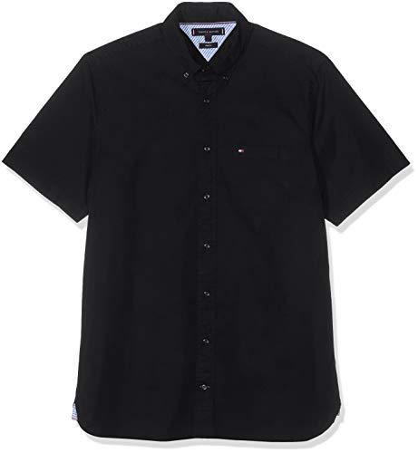 Herren Klassische Button-down-shirt (Tommy Hilfiger Herren Stretch POPLIN Shirt S/S Freizeithemd, Schwarz (Flag Black 032), 38 (Herstellergröße: S))