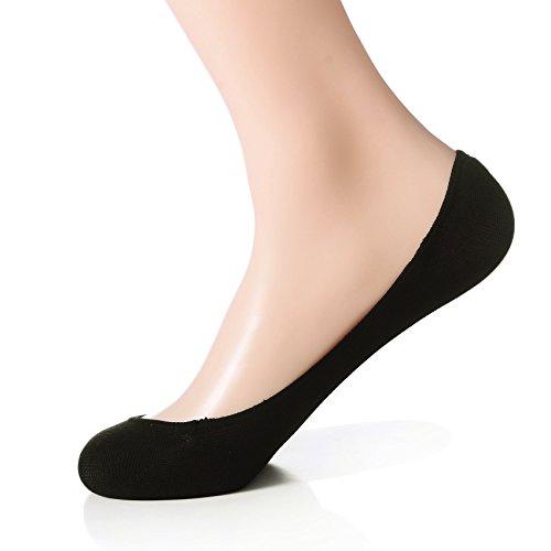 Dr. Anison Ultra Low Cut rutschsicher No Show Socken mit Silikon Rückseite für Damen 4Stück (Passform Größe UK Frauen 5–10) Gr. Medium, schwarz (Kleidung Großhandel Kompression)
