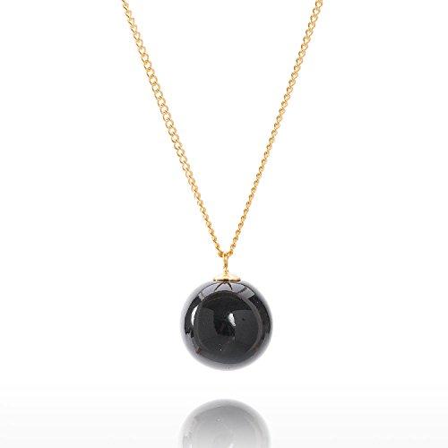 Louise Kragh Damen Halskette Pearl Perle Kugel Anhänger rund Porzellan schwarz Sterling Silber vergoldet - N-PE0102Sg