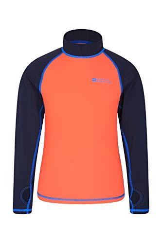 Mountain Warehouse Badeshirt für Kinder - Schwimmshirt mit UV-Schutz, Schnelltrocknendes Rash Guard Stretch, Langarmshirt für Kinder, Flache Nähte Orange 164 (13 Jahre)
