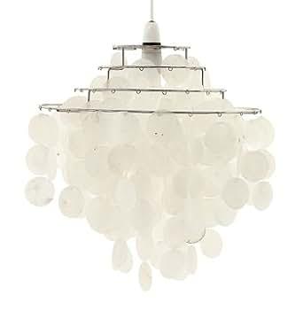 lampenschirm perlmutt scheiben der capiz muschel 4 reihen beleuchtung. Black Bedroom Furniture Sets. Home Design Ideas