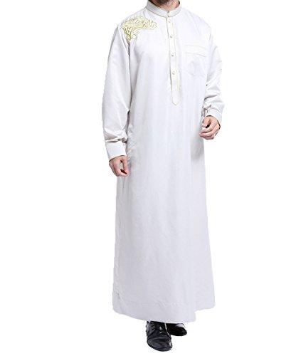 Moslemisches islamisches Pakistan Dubai Abaya Thobe Nahost-Art Stickte die Kleidung der Männer,Silber-Grau,XXL (Nahost-kleidung Männer)