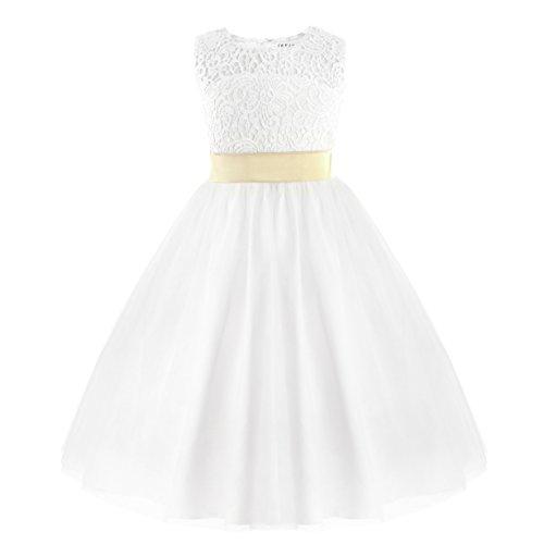 Iefiel vestito da principessa bambina ragazza in chiffon pizzo ricamo senza maniche damigella d'onore wedding matrimonio nozze abito da battesimo bianco farfalla bianco 10anni