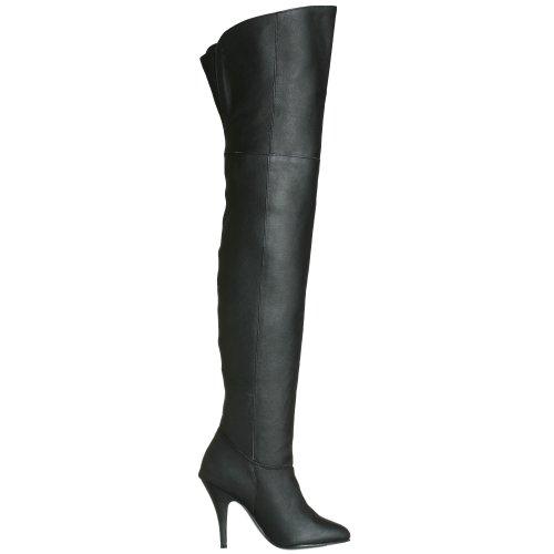 Pleaser  LEGEND-8868, Bottes non doublées arrivant au dessus du genou femme Noir (Blk Leather (P)))