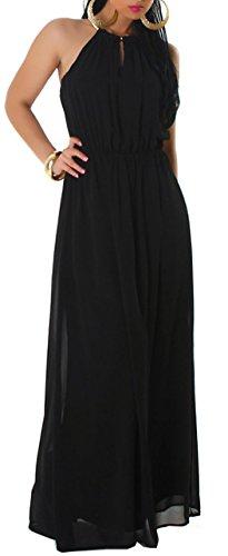 Jela london-robe pour femme avec dos uni halsring doré Noir - Noir