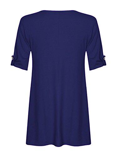 Fast Fashion Damen Schaukel Kleid Plus Size Auftauchen Taste Ärmel Königsblau