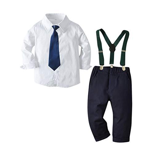 Anglewolf Kleinkind Baby Jungen Bekleidung Kurzarm/Langarm Fliege Gentleman Infant Boys Hemd T-Shirt Tops + Feste Shorts/Hose Outfits Kleidung Bowknot Shirt HosenträGer Outfit Set(A Weiß,110)