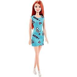 Barbie FJF18, Muñeca Chic pelirroja vestido azul, juguete 3+ años