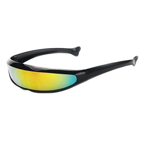 IPOTCH Männer Frauen Futuristische Partybrille Sonnenbrille Verspiegelte Alien - Schwarz Gelb (Futuristisches Kostüm Männer)