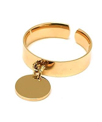 Bague avec pastille ronde dorée - Bague médaille plate