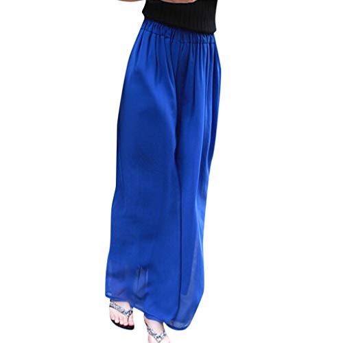 WOZOW Weites Bein Palazzo Hosen Damen Solid High Waist Swing Casual Beach Extra Lang Long Lightweight Lose Loose Chiffon Breathable Trousers (S,Blau) -