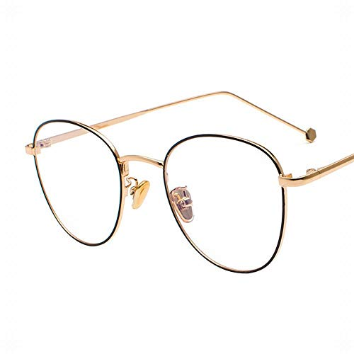 Ultralight Retro Thin Metal Brillengestell Optische Brillen Brillen ohne Rezept. Brille (Farbe : Gold/Black)