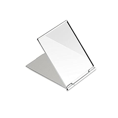 Frcolor Little Travel Mirror Portable Folding Mirror Pocket Compact Mirror for Shaving Camping and Make Up Silver