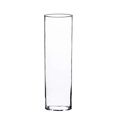 INNA-Glas Zylindrische Glas Vase Sansa, transparent, 75cm, Ø 25cm - Bodenvase groß - Windlicht
