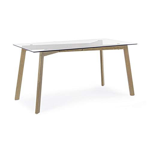 ARREDinITALY Table rectangulaire 150 x 80 avec Plateau en Verre et Pieds en métal Verni Effet Bois