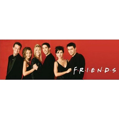 Click for larger image of Friends (Group, Black and Red) TV Poster Print - 30x91 cm