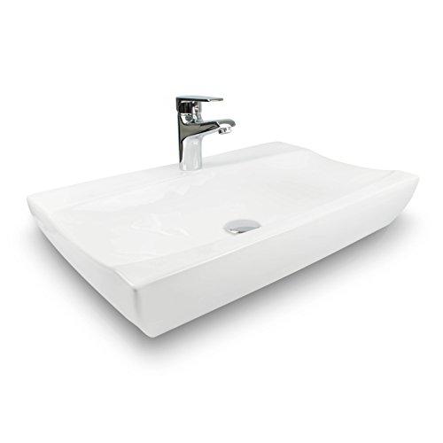 VENKON - Design Aufsatz Waschbecken mit NANO Beschichtung Keramik Waschschale für Tischmontage - reinweiß, ca. 630 x 115 x 395 mm