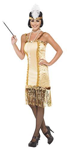 Smiffys, Damen 20er Charleston Flapper Kostüm, Kleid und Stirnband, Größe: L, 29188 (Kostüm Flapper Schuhe)