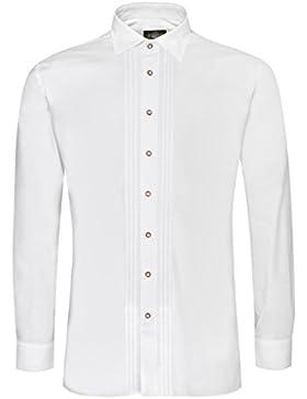 Hammerschmid Trachtenhemd ADALBERT Slim Fit mit Biesen in Weiß
