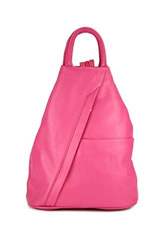 Belli 'City Backpack leichte ital. Leder Rucksack Handtasche - Farbauswahl - 29x32x11 cm (B x H x T) (Pink)